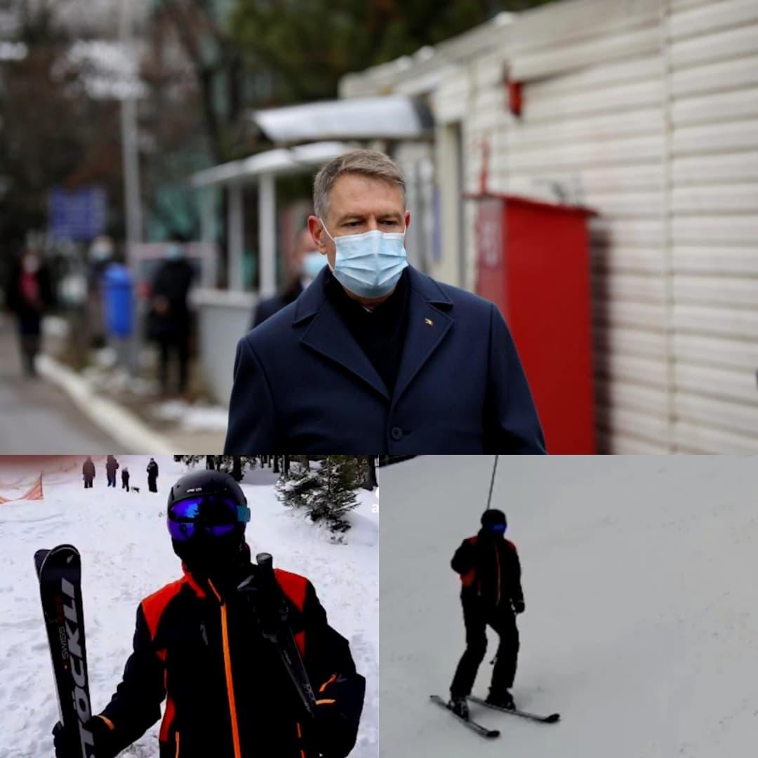 """După tragedia de la Matei  Balș, Președintele  Iohannis s-a dus la munte """"Vă invit să veniți la schi""""."""