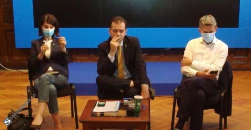 Ludovic Orban fumează în spațiu închis și fără mască